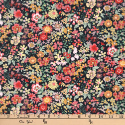 Kaufman Petite Garden Flower Bunch Black Fabric