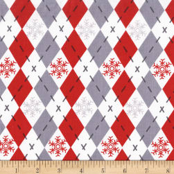 Michael Miller Woodland Winter Argyle Sweater Santa Fabric