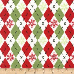 Michael Miller Woodland Winter Argyle Sweater Hollyberry Fabric