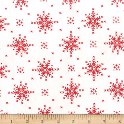 Michael Miller Woodland Winter Stitch Snowflake Peppermint