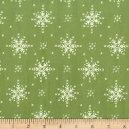 Michael Miller Woodland Winter Stitch Snowflake Mistletoe Fabric