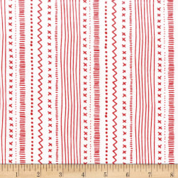 Michael Miller Woodland Winter Stitches And Stripes Peppermint