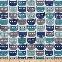 Michael Miller Sassy Cats Sassy Cats Blue Fabric