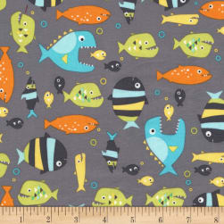 Michael Miller Guppies For Lunch Piranhas Seaweed Fabric