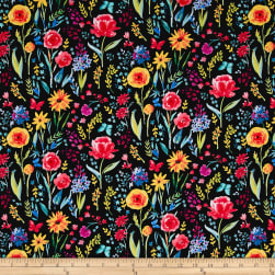 Michael Miller Garden Party Meadow Menagerie Black Fabric