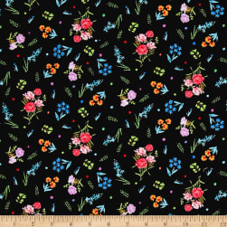 Michael Miller Garden Party Dainty Blooms Black Fabric