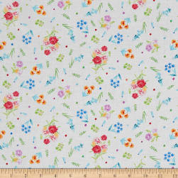 Michael Miller Garden Party Dainty Blooms White Fabric