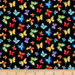 Michael Miller Garden Party Butterfly Free Black Fabric