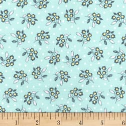 Michael Miller Butterfly Row Flower Toss Sky Fabric