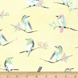 Michael Miller Butterfly Row Bird Watch Yellow Fabric