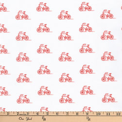 Kaufman London Calling Lawn Bikes Poppy Fabric