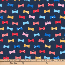 Kaufman London Calling Lawn Bow Ties Navy Fabric