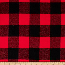 Kaufman Mammoth Flannel Buffalo Check Large Red Fabric