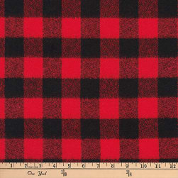 Kaufman Mammoth Flannel Buffalo Check Medium Red Fabric