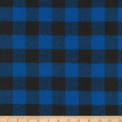 Kaufman Mammoth Flannel Buffalo Check Medium Blue Fabric