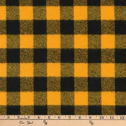 Kaufman Mammoth Flannel Buffalo Check Medium Yellow Fabric