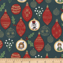 Michael Miller Nutcracker Metallic Ornaments Hunter Fabric