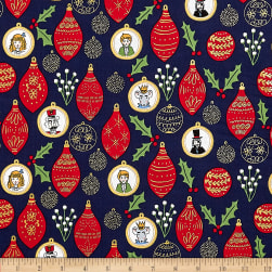 Michael Miller Nutcracker Metallic Ornaments Navy Fabric