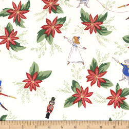 Michael Miller Nutcracker Metallic Nutcradker Floral Cream Fabric