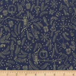 Michael Miller Nutcracker Metallic Mini Overture Navy Fabric