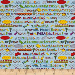 Lost World Dino Names Blue/Multi Fabric
