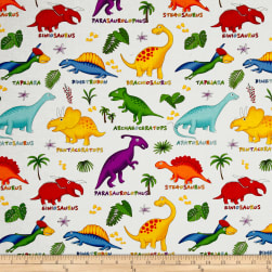 Lost World Dinosaurs Multi/White Fabric