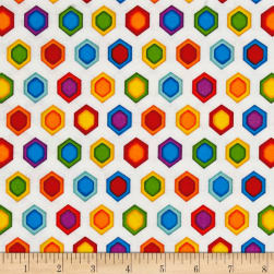 Lost World Hexagons White/Multi Fabric
