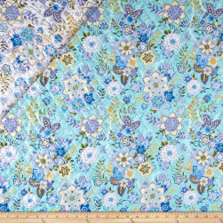 Mayfair Double Sided Quilted Floral Lavender/Turquoise Fabric