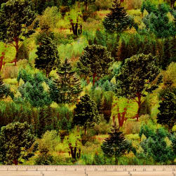 Mountain View Digital Trees Bright Green Fabric