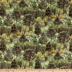 Mountain View Digital Trees Sage Green Fabric