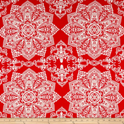 Rayon Jersey Knit Medallion Coral/Ivory Fabric