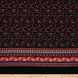 Bubble Crepe Stretch Floral Double Border Black/Wine Fabric