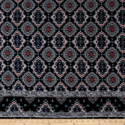 Rayon Crepe Double Border Medallion Navy/Rose Quartz Fabric
