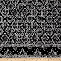 Rayon Crepe Double Border Medallion Black/Ivory Fabric