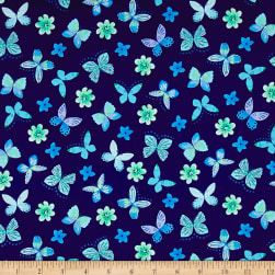 Painted Wings Mini Butterflies Navy Fabric