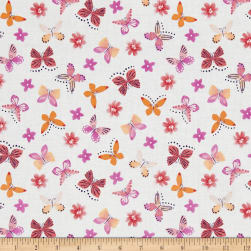 Painted Wings Mini Butterflies White Fabric