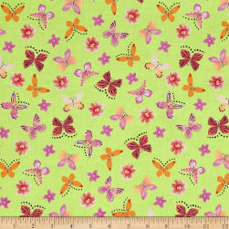 Painted Wings Mini Butterflies Lime Fabric