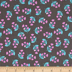 Painted Wings Flowers Grey Fabric