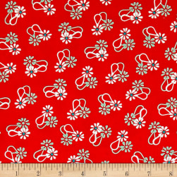 Hello Jane Loop Flower Red Fabric