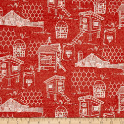 The Hen House Henhouse Red Fabric