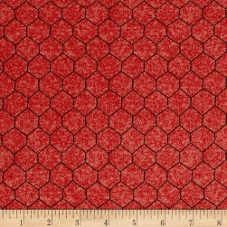 The Hen House Chicken Wire Red Fabric