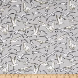 High Tide Seagulls Grey Fabric