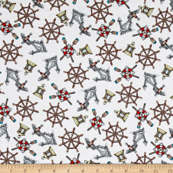 High Tide Nautical White Fabric