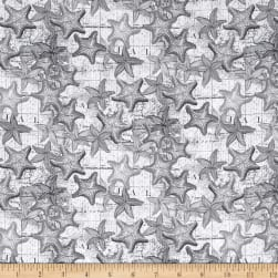 High Tide Starfish Grey Fabric