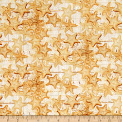 High Tide Starfish Gold Fabric