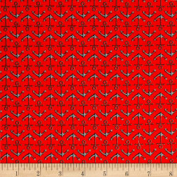 High Tide Anchors Red Fabric