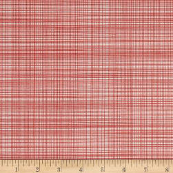 Hand Picked Organic Grid Red Fabric