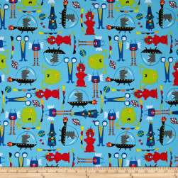 Aliens In Space Aliens Blue Fabric