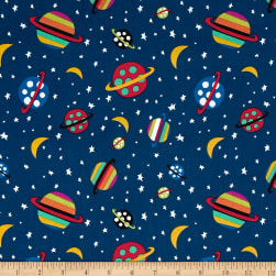 Aliens In Space Planet Navy Fabric