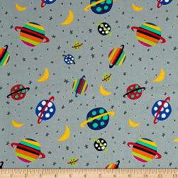 Aliens In Space Planet Grey Fabric